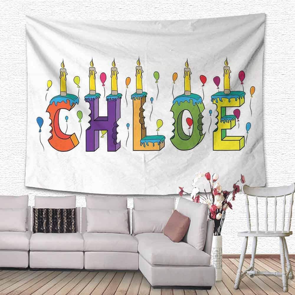 SONGDAYONE Multifunctional Tapestry Chloe Lettering with Cheerful Bitten Cake Candles Girly Birthday Party Design First Name Easy to Carry Multicolor W80 x L60