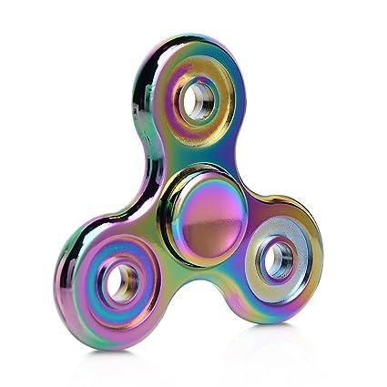 Fidget Spinner Toy Rainbow Hand Tri Finger Metal Spinnerfor ADD ADHD