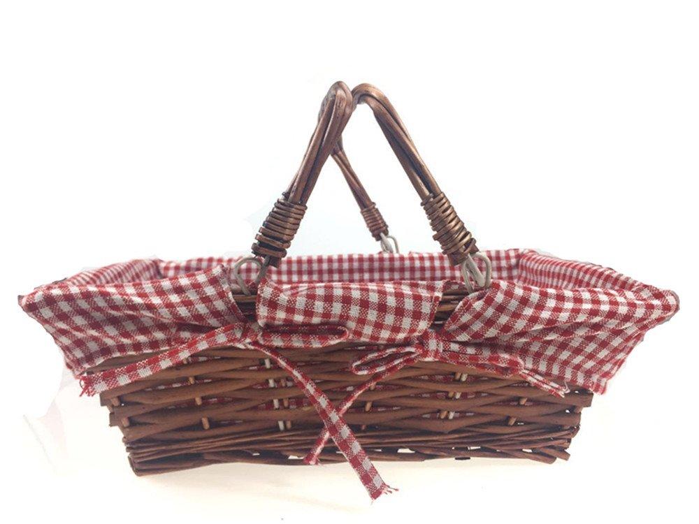 Oypeip Wicker Basket Gift Baskets Empty Rectangle Willow Woven Picnic Basket Cheap Easter Candy Basket Storage Basket Wine Basket with Handle Egg Gathering Wedding Basket (Auburn) by Oypeip (Image #2)