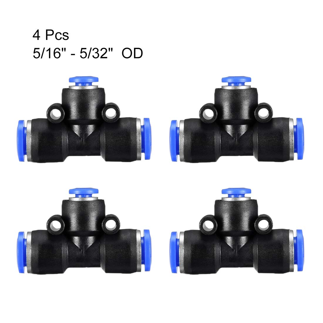 uxcell Plastic Tee Push to Connect Tube Fittings 25//64-15//64 od Push Lock Blue 4pcs 10-6mm