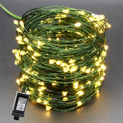 YULETIME Fairy String Lights with Adapter, 50 Ft 150 LEDs Waterproof Starry Copper Wire Lights, Home Decor Firefly Lights for Garden Backyard Christmas Tree (Warm White, Green Wire)