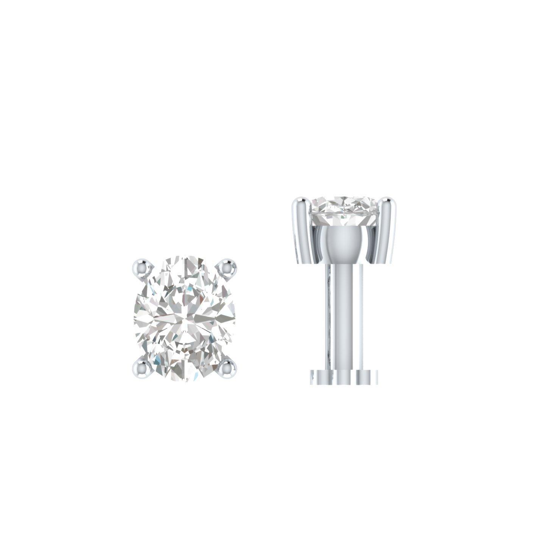 Silvercz Jewels 0.15 Ct Sim. Diamond Solitaire Nose Bone Sterling Silver Screw Stud Piercing Ring Pin