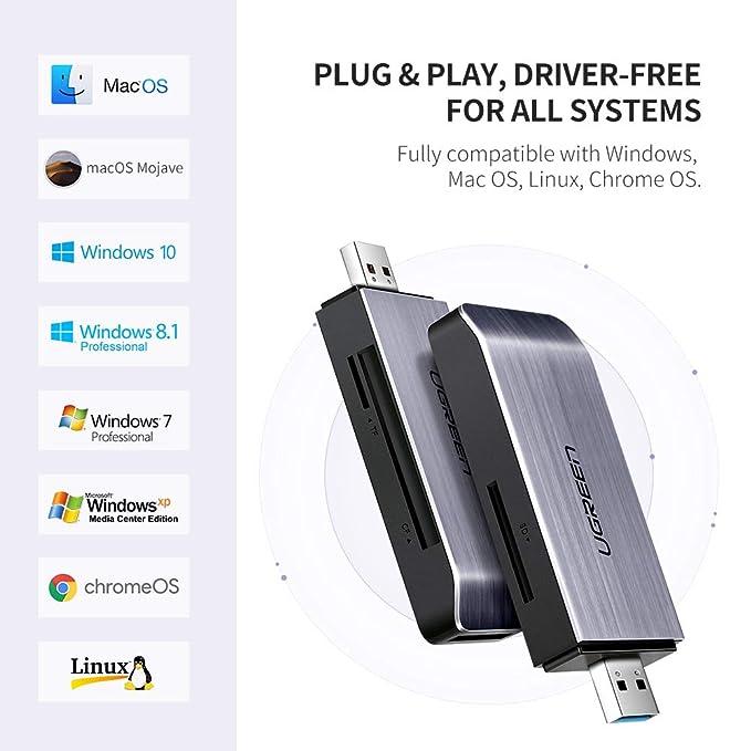UGREEN Lector Tarjetas SD, USB 3.0 Lectura Simultánea 4 EN 1 Super Rápido 5Gbps para Tarjetas de Memoria, Ranura SD, Micro SD/TF, CF, MS, Plug and ...