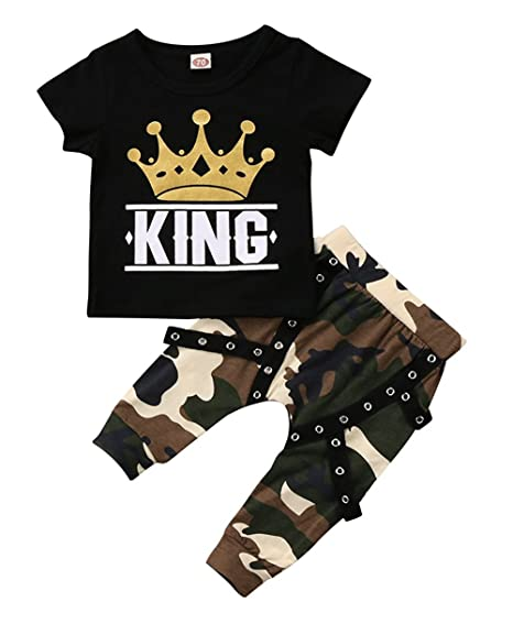 316040b9 KONIGHT Toddler Baby Boy Clothes King Short Sleeve Black T-Shirt +Camo Pants  Outfits