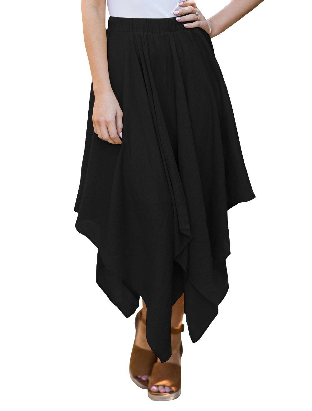 PRETTODAY Women's Flow Handkerchief Hemline Midi Skirts (XX-Large, Black)