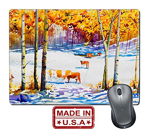 "Liili Natural Rubber Mouse Pad/Mat with Stitched Edges 9.8"" x 7.9"" An original watercolor painting of a cattle pasture with an early blanket of snow Photo 8267530 by Liili Customized Premium Deluxe ge"