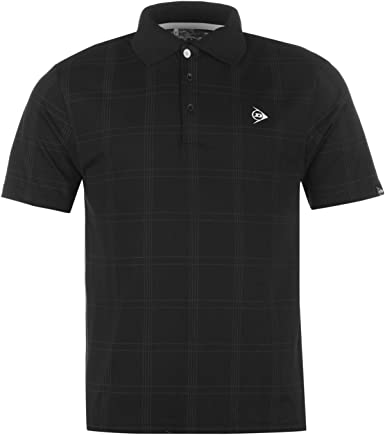 Dunlop Hombre Manga Corta Check Print Golf Polo – Camiseta té Top ...