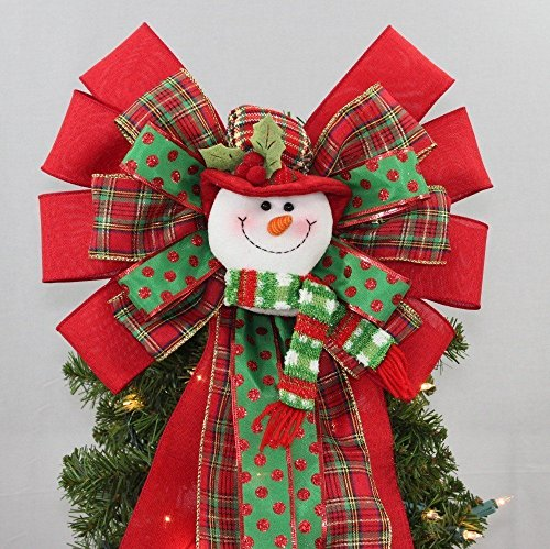 Plaid Snowman Christmas Tree Topper Bow - 13
