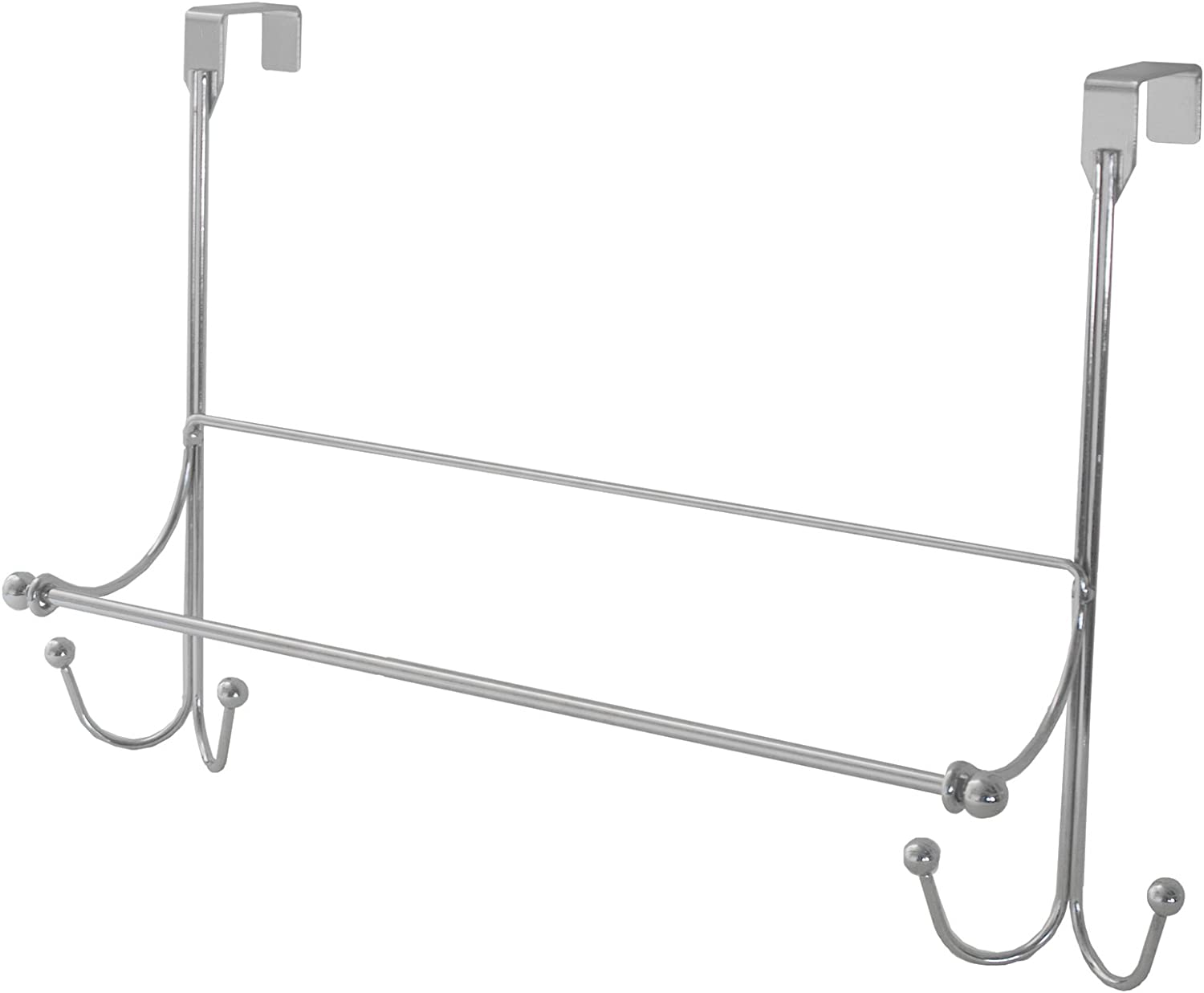 Home Basics Chrome Scroll Collection Over The Door Hook With Towel Bar