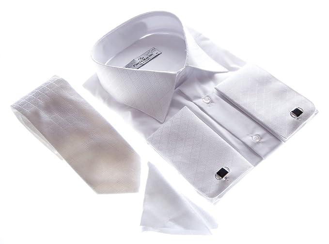 Del Pierro Herren Hemd Weiß für Manschettenknöpfe mit Krawatte und  Einstecktuch Hochzeitshemd Herrenhemd für Hochzeit Größe 0b2245a0c0