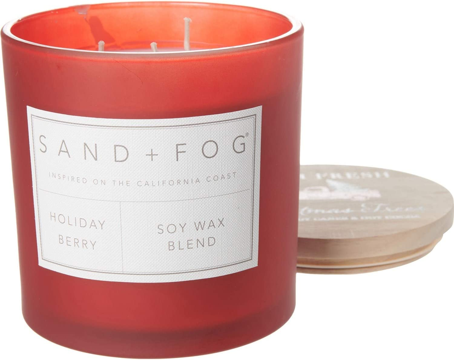 Sand + Fog Holiday Berry Scented Candle, Large Triple Wick, 25 oz