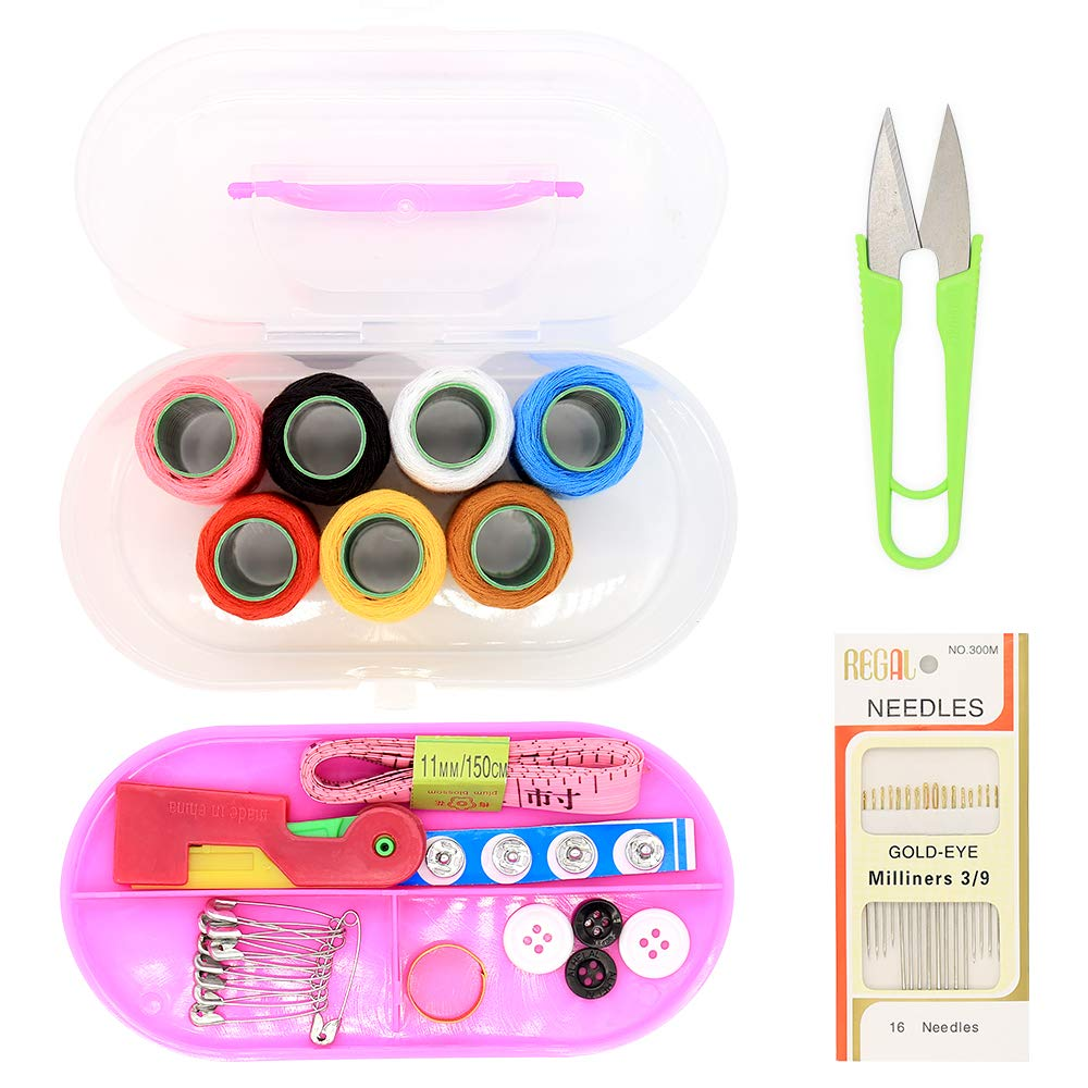 Sewing Kit,Thread kit, Over 10 Piece Set Quality Sewing Supplies, 7 Main Color Spools Over 300 Yards of Thread,Sewing Kit for DIY, Beginners, Emergency, Kids, Summer Campers, Travel (10 Piece Set)