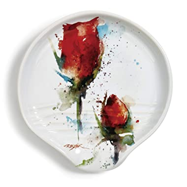 Rose Flower Floral Watercolor Red 5 x 5 Glossy Ceramic Stoneware Spoon Rest