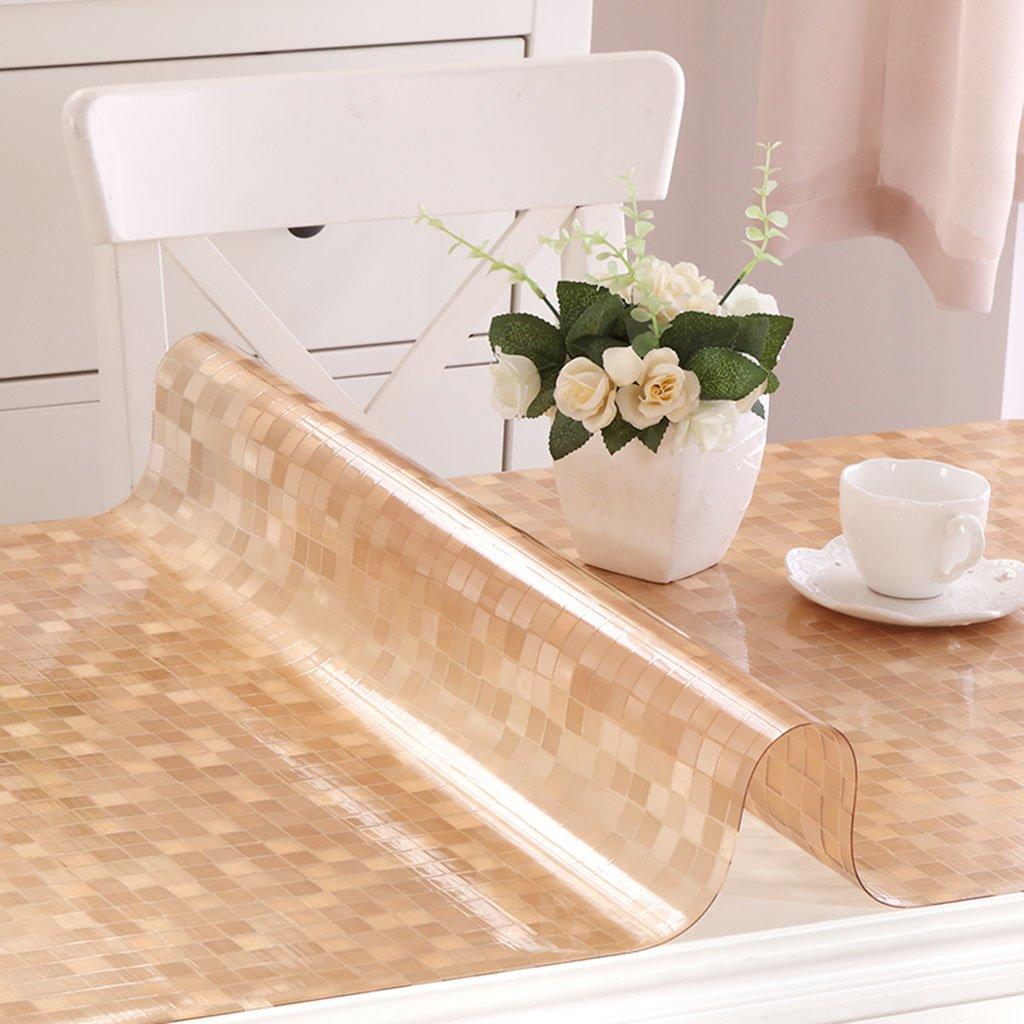 Küchenwäsche PVC Tischdecke, Weißhe Glas Tischmatten Wasserdichte Kristallplatte Kaffeetisch Tuch Tischdecke 1.2MM ( Farbe   A , größe   90150CM ) E 60120cm
