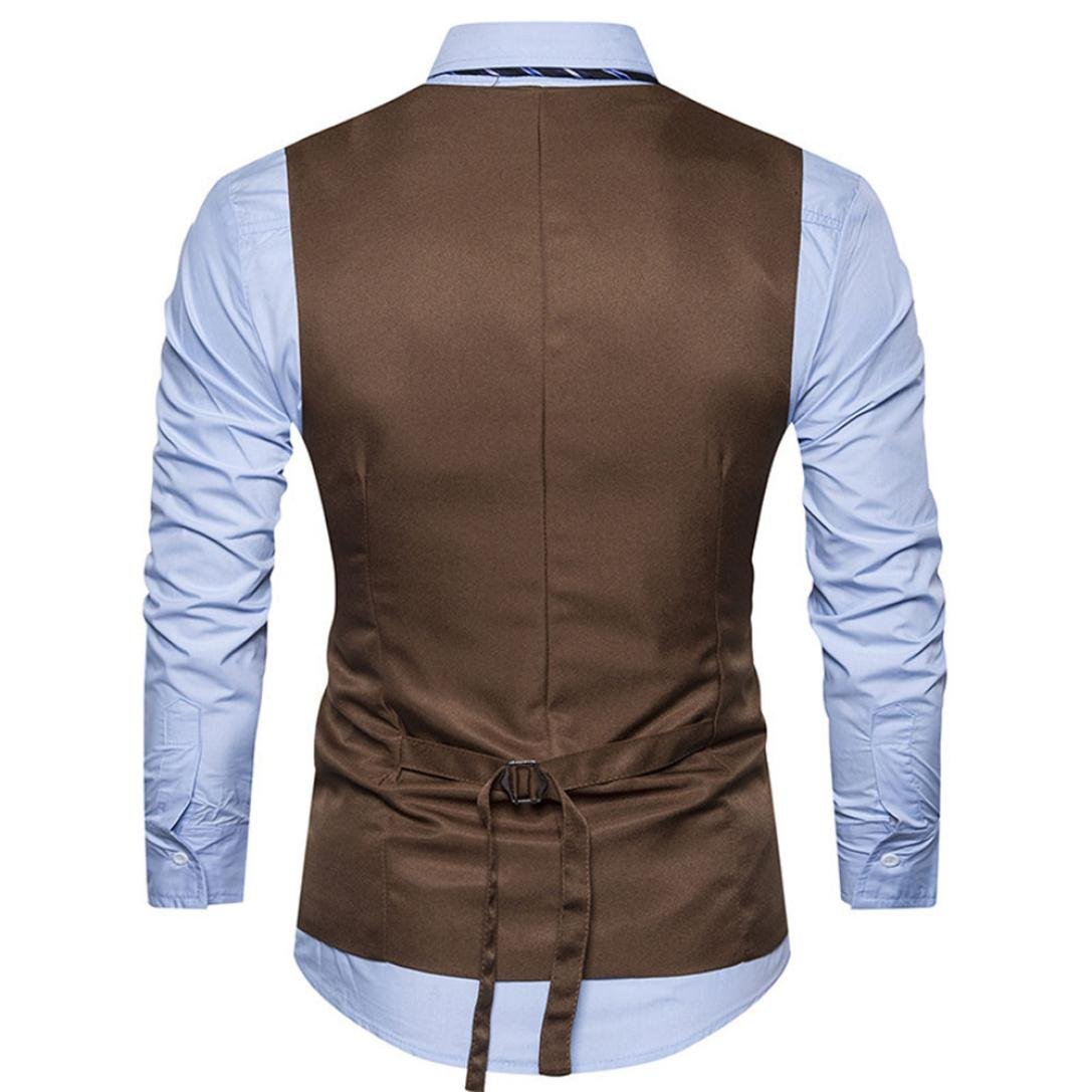 ManxiVoo Men Formal Tweed Check Double Breasted Waistcoat Layered Vest Dress Businee Slim Fit Suit Jacket
