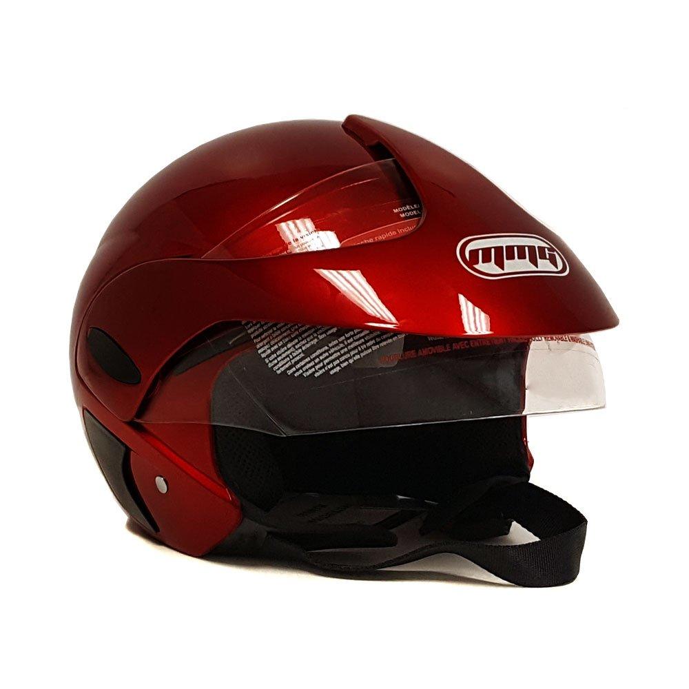Shiny Burgundy Large MMG 203 Motorcycle Scooter Open Face Helmet Flip Up Visor DOT Approved