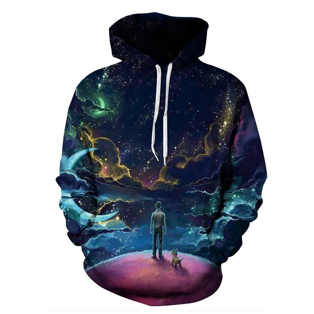 FuweiEncore Männer Trainingsanzug, Mode 3D Hoodies Hoodie Pullover Grafik Sweatshirts mit Kapuze mit großen Taschen Langarmshirts Sportswear für Männer (Farbe   6, Größe   M) (Farbe   1, Grö