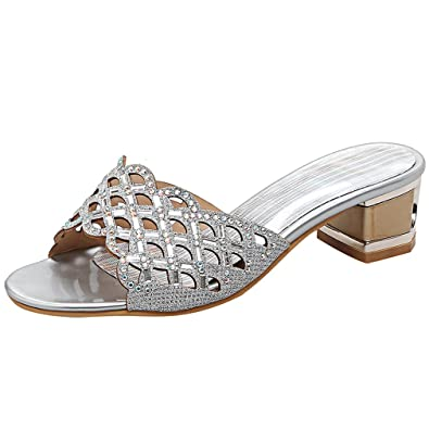 e70656b6ef6e Artfaerie Women s Mid Heel Slingback Mules Glitter Open Toe Slippers Cut  Out Evening Party Summer Pumps  Amazon.co.uk  Shoes   Bags