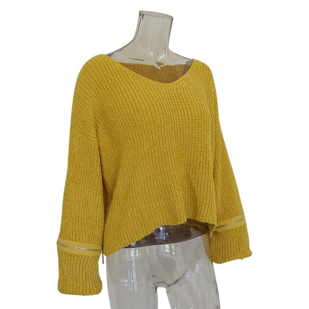 Mujer sudadera otoño,Sonnena ❤ Suéter de manga larga de mujer de moda de invierno Tops de punto hechos a mano Blusa suelta de suéter: Amazon.es: Hogar