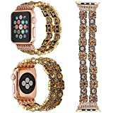 ZXK CO 38mm Band for Apple Watch Series 1 Series 2 Series 3 - Fashion Vintage Handmade Gemstone Watch Strap Elastic Replacement Watch Band Bracelet Strap(Gold Gemstone - 38mm)