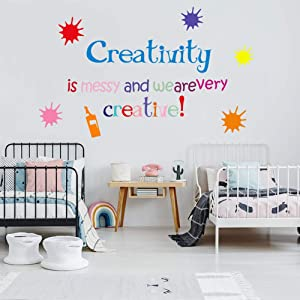 Creativity is Messy and We are Very Creative, Playroom Wall Stickers, Inspirational Quotes Wall Decal Watercolor Paint Splash Wall Art for Classroom Nursery Kids Room Bedroom Decoration