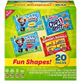 Nabisco Cookies & Crackers (20 Count) Variety Pack Fun Shapes Mix - (Single Serve 1.0 oz Bags), 4 Flavors: Teddy Grahams Honey, Teddy Grahams Chocolate, Mini Chips Ahoy & Animal Crackers