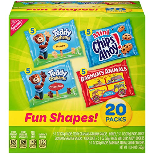 Nabisco Cookies & Crackers (20 Count) Variety Pack Fun Shapes Mix - (Single Serve 1.0 oz Bags), 4 Flavors: Teddy Grahams Honey, Teddy Grahams Chocolate, Mini Chips Ahoy & Animal ()