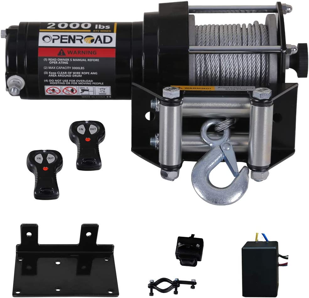 OPENROAD 2000lb//907kg ATV//UTV Winch with Cable,12v Electric Winch Single Line Portable Winch