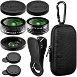 AFUNTA Camera Lens Kit, 0.36X Super Wide Angle Lens + 180°Fisheye Lens & 15X Macro Lens, 3 in 1 HD Clip-on Cell Phone Lens for iPhone Samsung Most Smartphones