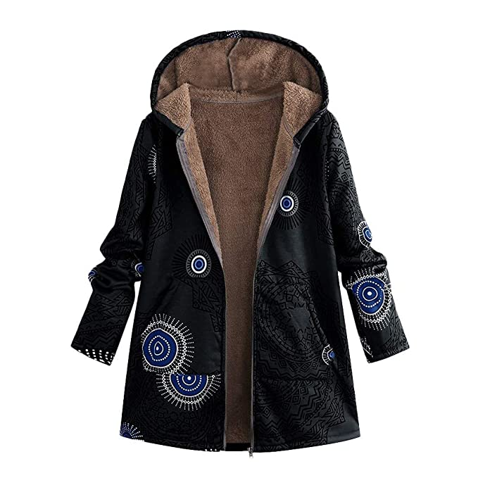 Vintage Coats & Jackets | Retro Coats and Jackets Womens Girls Parka Coat Vintage Geometry Printed Jacket Outwear Hooded Pockets Overcoats $17.79 AT vintagedancer.com