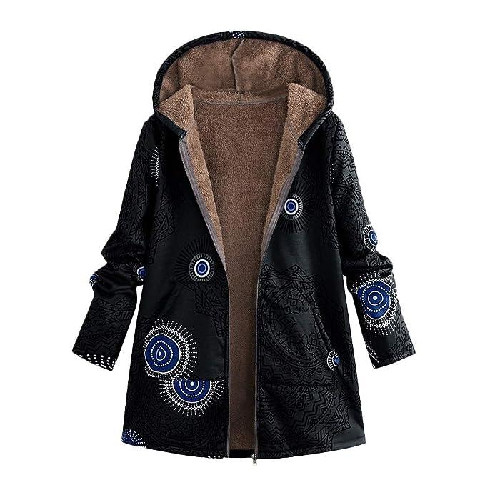 4c7bcbf520fead Cappotto Donna Elegante, Rcool Basic Giacca con Cappuccio Stampa Floreale  Vintage Cappotti Autunno Inverno Cardigan