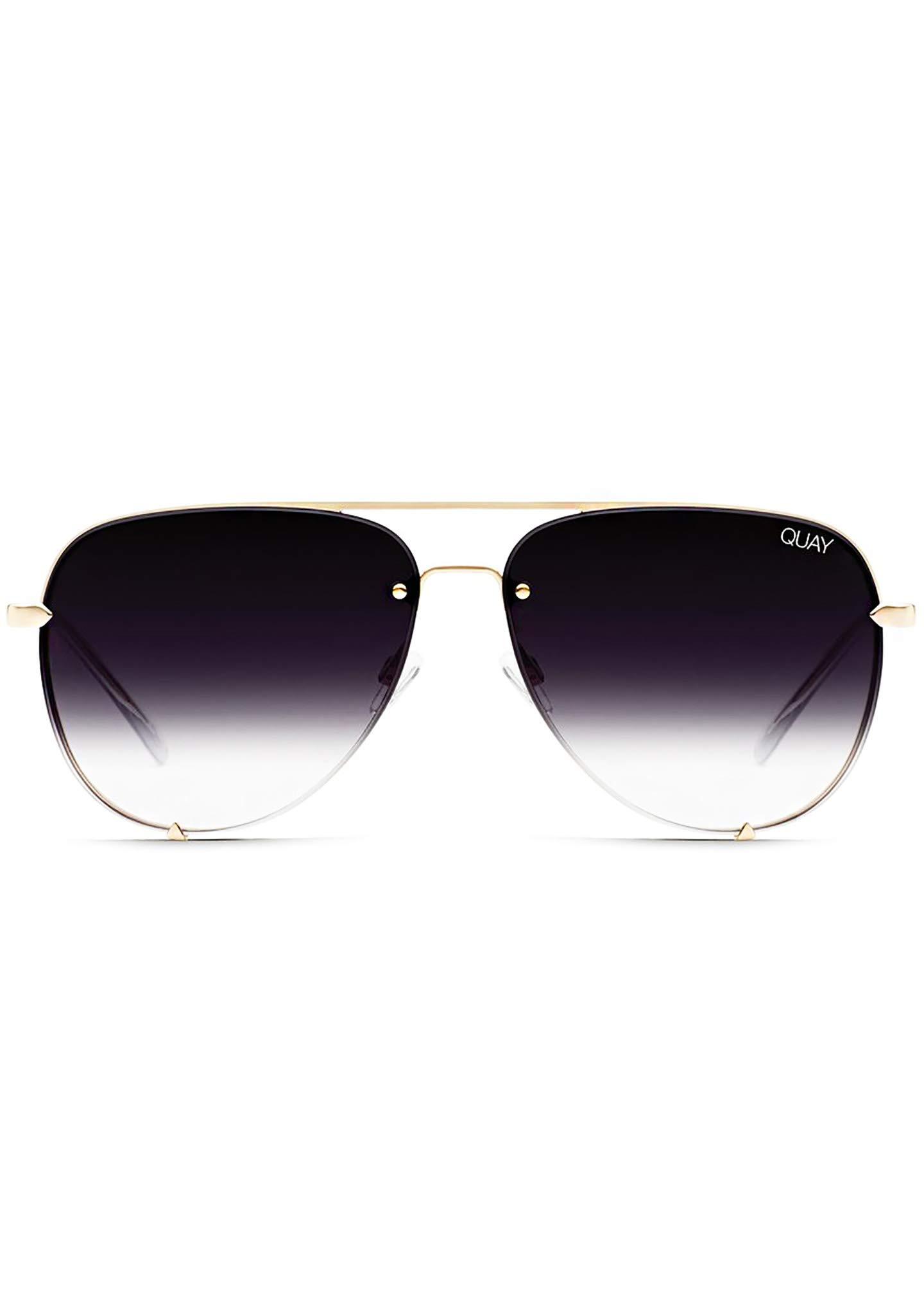 Quay Australia X Desi Perkins HIGH KEY RIMLESS Sunglasses in Gold Fade, Womens, One Size