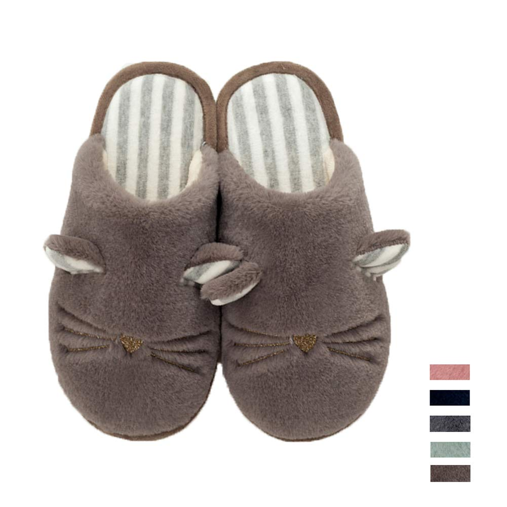 Women Cute Animal Home Slippers Warm Plush Fleece House Slippers Soft Memory Foam Clog Indoor Slip on Slippers Shoes