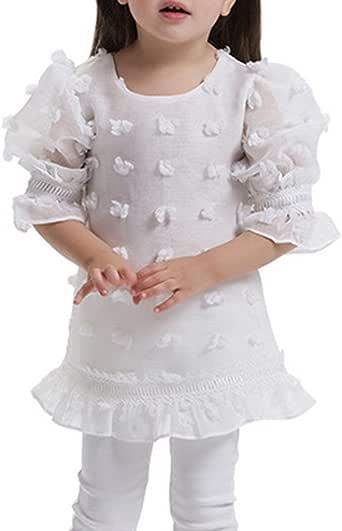 Bigood - Blusa - Floral - para niña Weiß Large: Amazon.es: Ropa y accesorios
