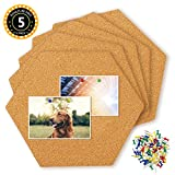 Hangnuo 5 Pack Hexagon Cork Tiles Self Adhesive with 80 PCS Pushpins, Mini Wall Bulletin Boards for Pictures, Notes, Home Decor and Office Memo