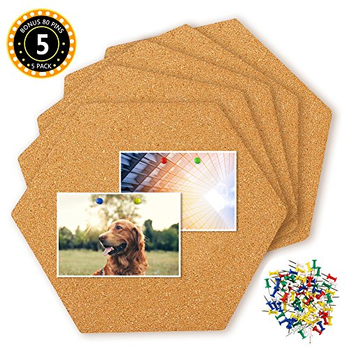 HANGNUO 5 Pack Hexagon Cork Tiles Self Adhesive with 80 PCS Pushpins, Mini Wall Bulletin Boards for Pictures, Notes, Home Decor and Office Memo by HANGNUO
