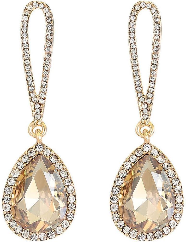 QiXuan Womens Drop aretes de moda pendientes con colgando de cristal de lágrima y diamantes de imitación chapado en oro