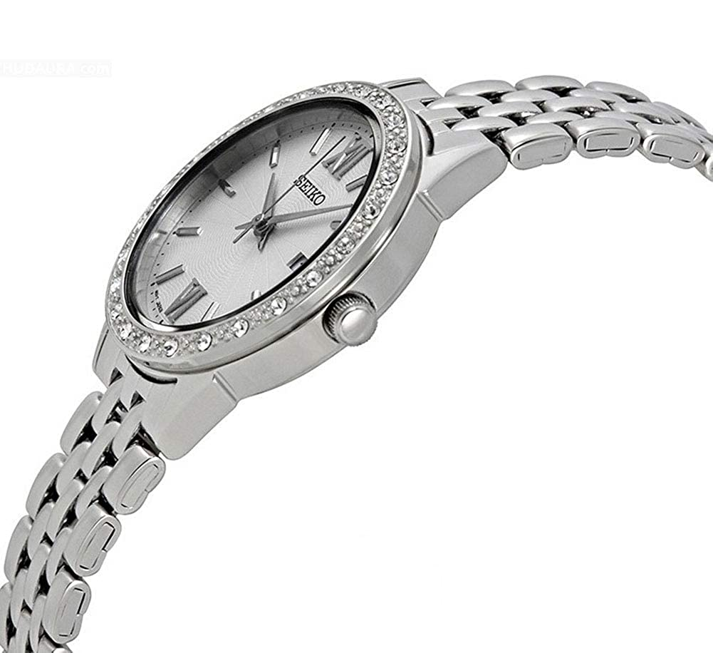 Amazon.com: Seiko Womens 28mm Steel Bracelet & Case Hardlex Crystal Quartz White Dial Analog Watch SUR695: Seiko: Watches