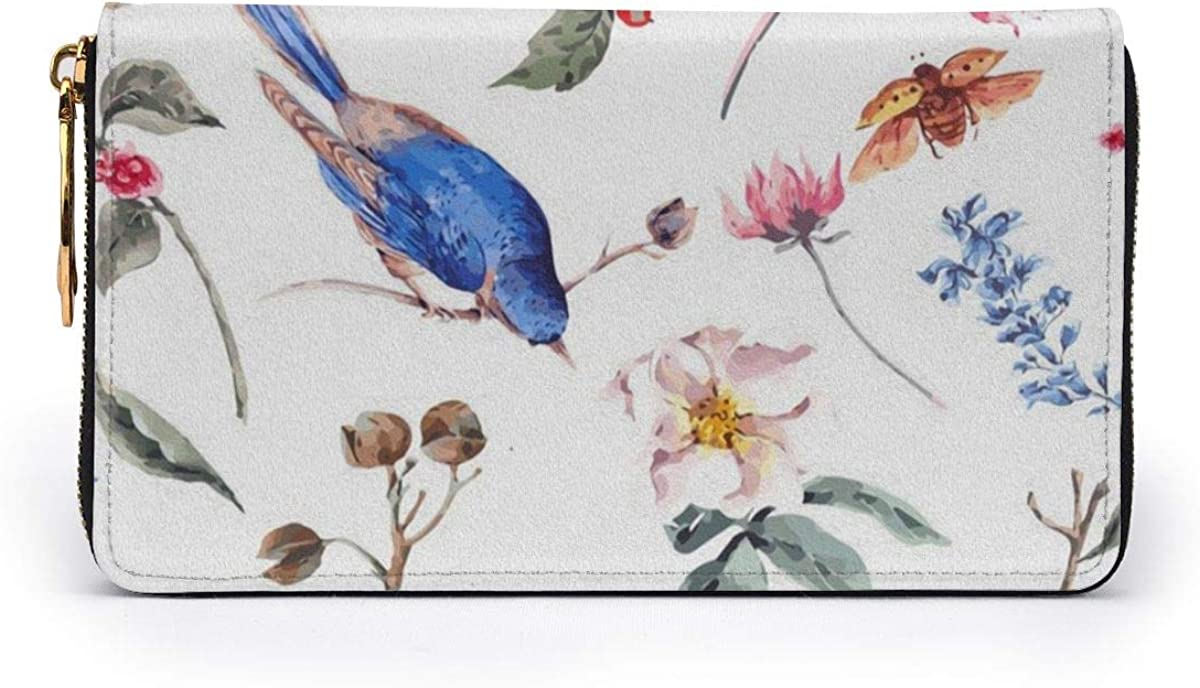Watercolor Bird And Insect Wallets For Men Women Long Leather Checkbook Card Holder Purse Zipper Buckle Elegant Clutch Ladies Coin Purse