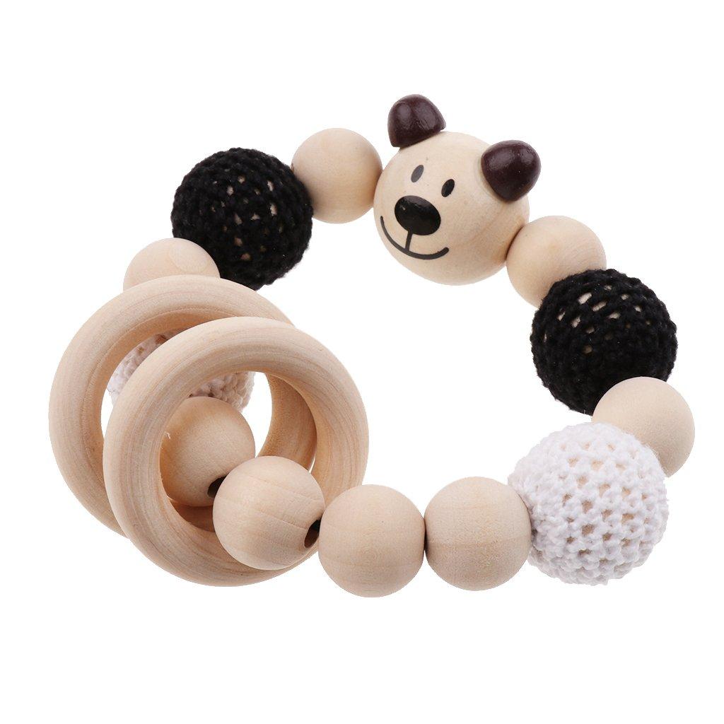 Magideal Babypflege Schmuck Beißring Aus Holz Ringe Häkeln Perlen
