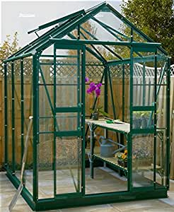 Summer Garden Buildings 5' Wide Greenhouse - Green Aluminium With Toughened Glass - 5' x 6'