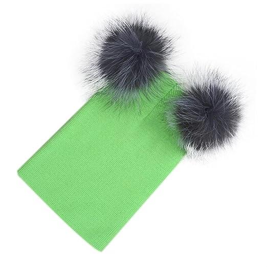 b0223bb061581 AutumnFall Women Knitting Beanie Hip Hop Cap Two Ball Warm Winter Ski Hat ( Green)