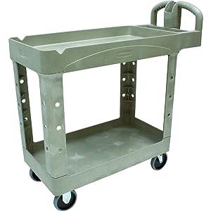Rubbermaid Commercial Heavy-Duty 2- Shelf Utility Cart, Ergo Handle, Lipped Shelves, Small, Beige (FG450088BEIG)
