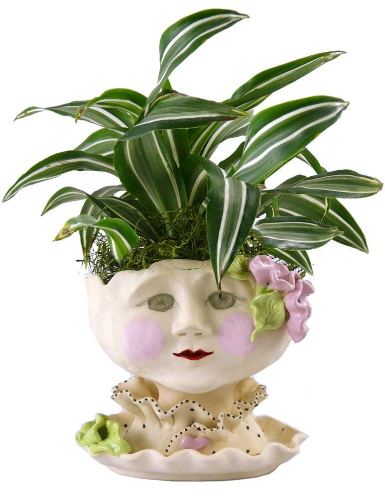 Victorian Lovelies Sculpted Pottery Indoor Head Planter: Mornin' Gloria by Modern Artisans