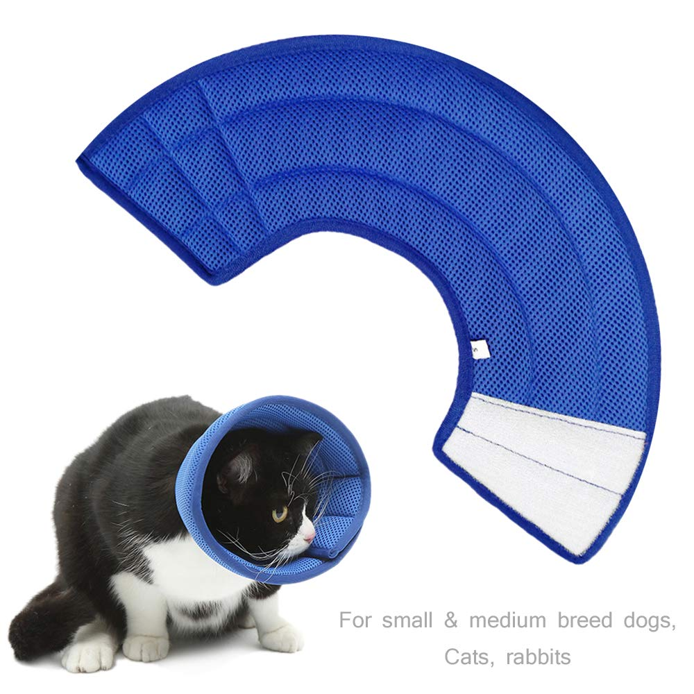 Vetoo Recovery E Collar for Pet Dogs Cats Rabbits, Protective for Quicker Healing Anti-Bite Anti-Lick Easy Eat and Drink, Blue L by Vetoo