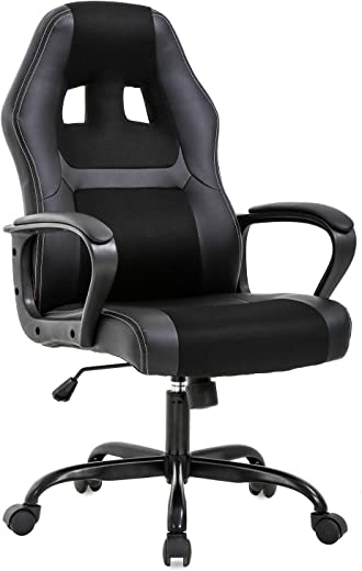 Office Chair PC Gaming Chair Cheap Desk Chair Ergonomic PU Leather Executive Computer Chair Lumbar Support for Women, Men(Black)