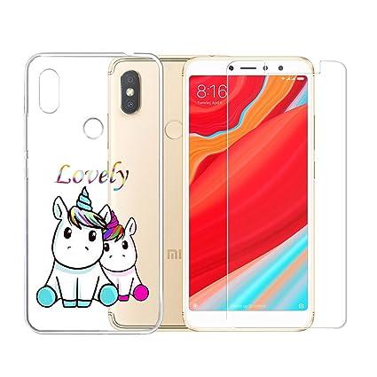 LJSM Xiaomi Redmi S2 Funda Transparente + Protector de ...