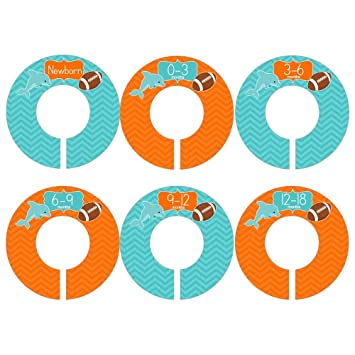Gift Set Of 6 Closet Organizer Dividers For Baby And Toddler Clothing With  Miami Florida Dolphins