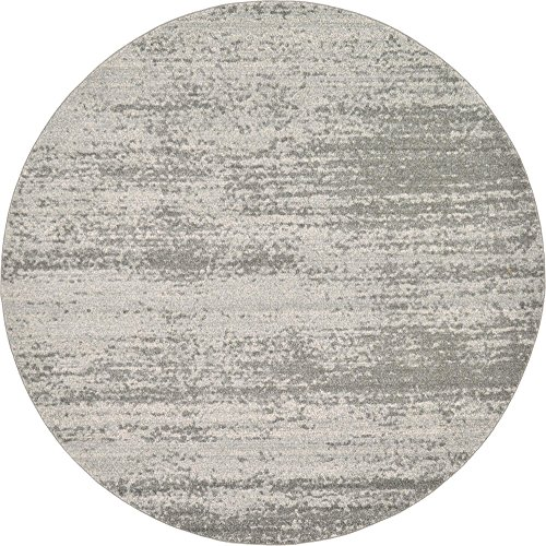 Unique Loom Del Mar Collection Contemporary Transitional Gray Round Rug (8' 0 x 8' 0) (Rugs Feet 8 Round Area)