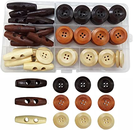 34 Wooden Coat buttons 20mm Buttons for jackets Round Wood buttons for knitting and sewing 4 holes Set of 10 or 20 Pants buttons